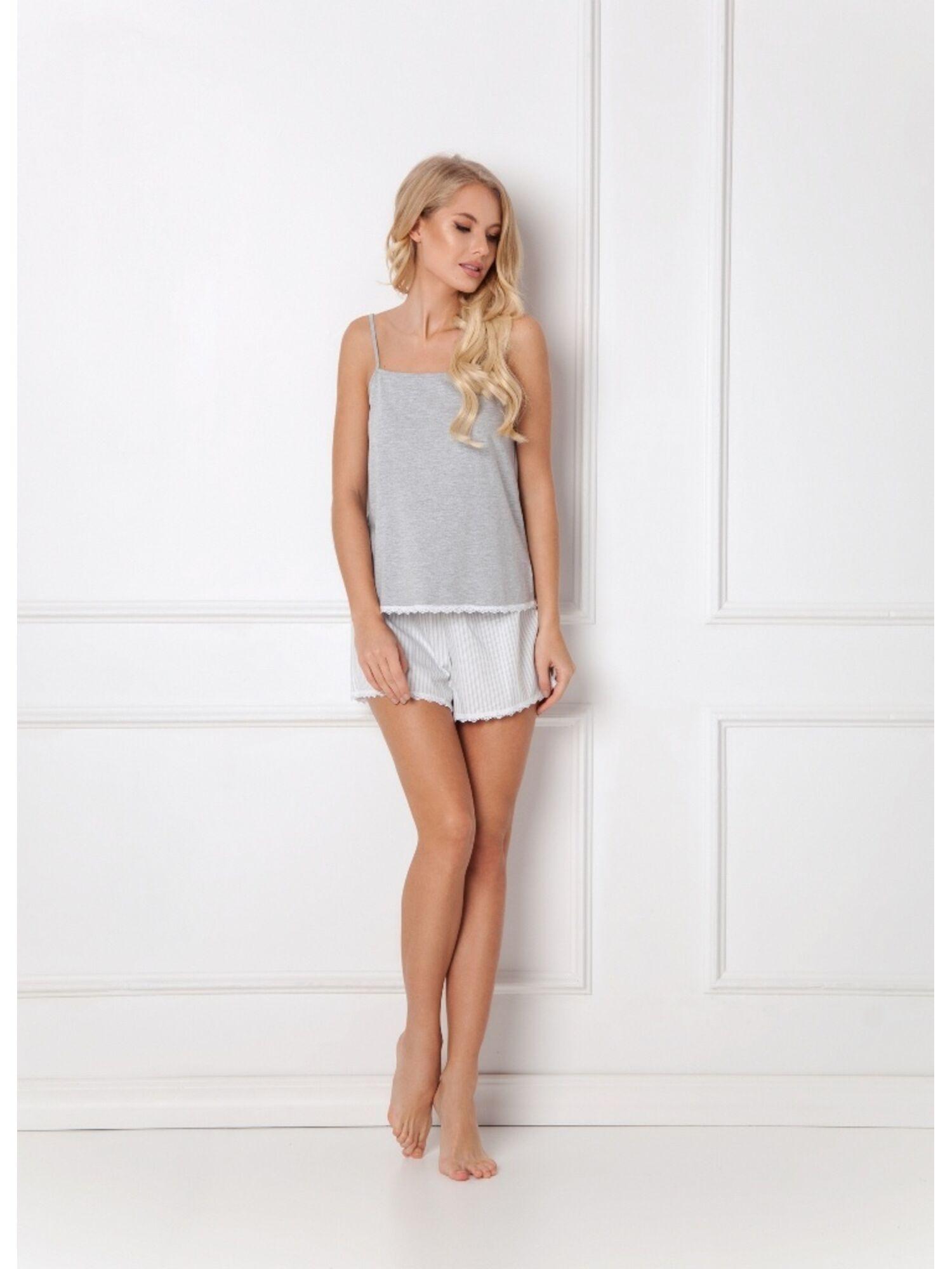 Пижама женская с шортами ADELIDE GREY, серый, ARUELLE