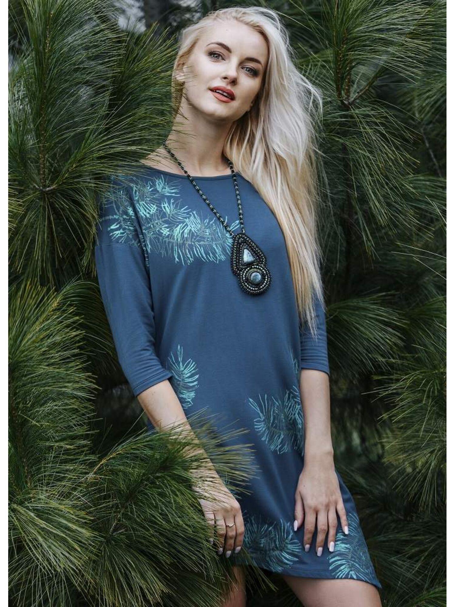 Платье женское из вискозы LHD 080 19/20 зеленый , KEY