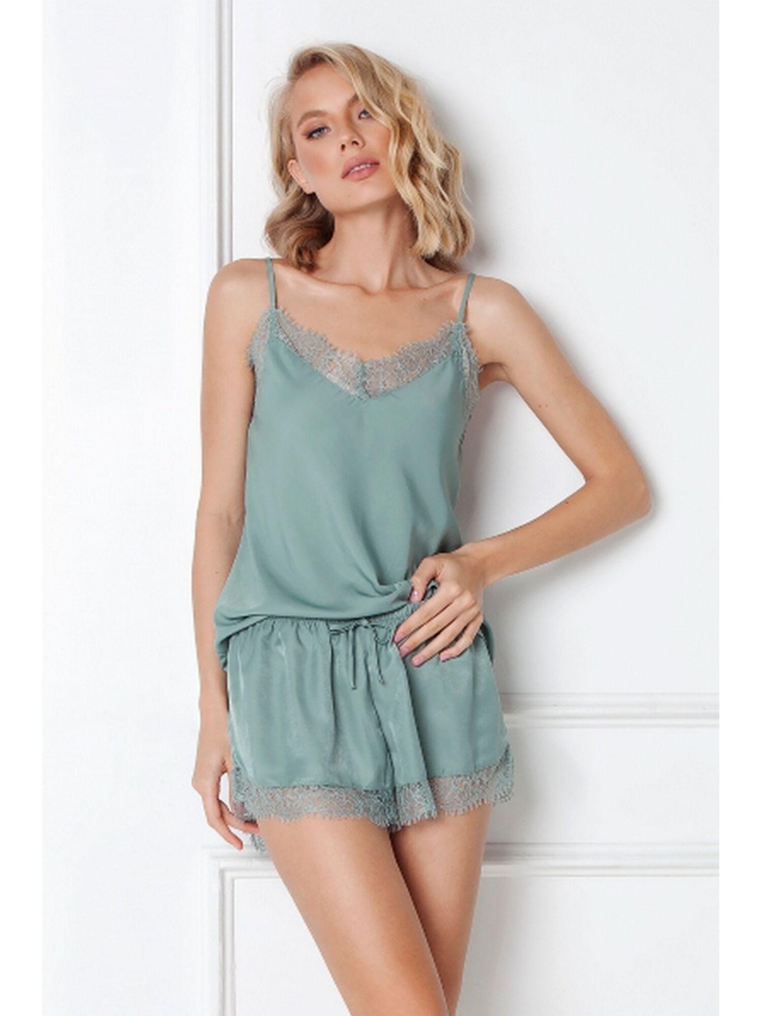 Пижама женская с шортами EMERY, зелёный, ARUELLE