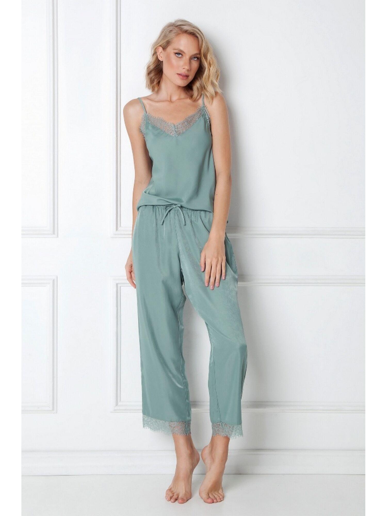 Пижама женская со штанами EMERY, зелёный, ARUELLE