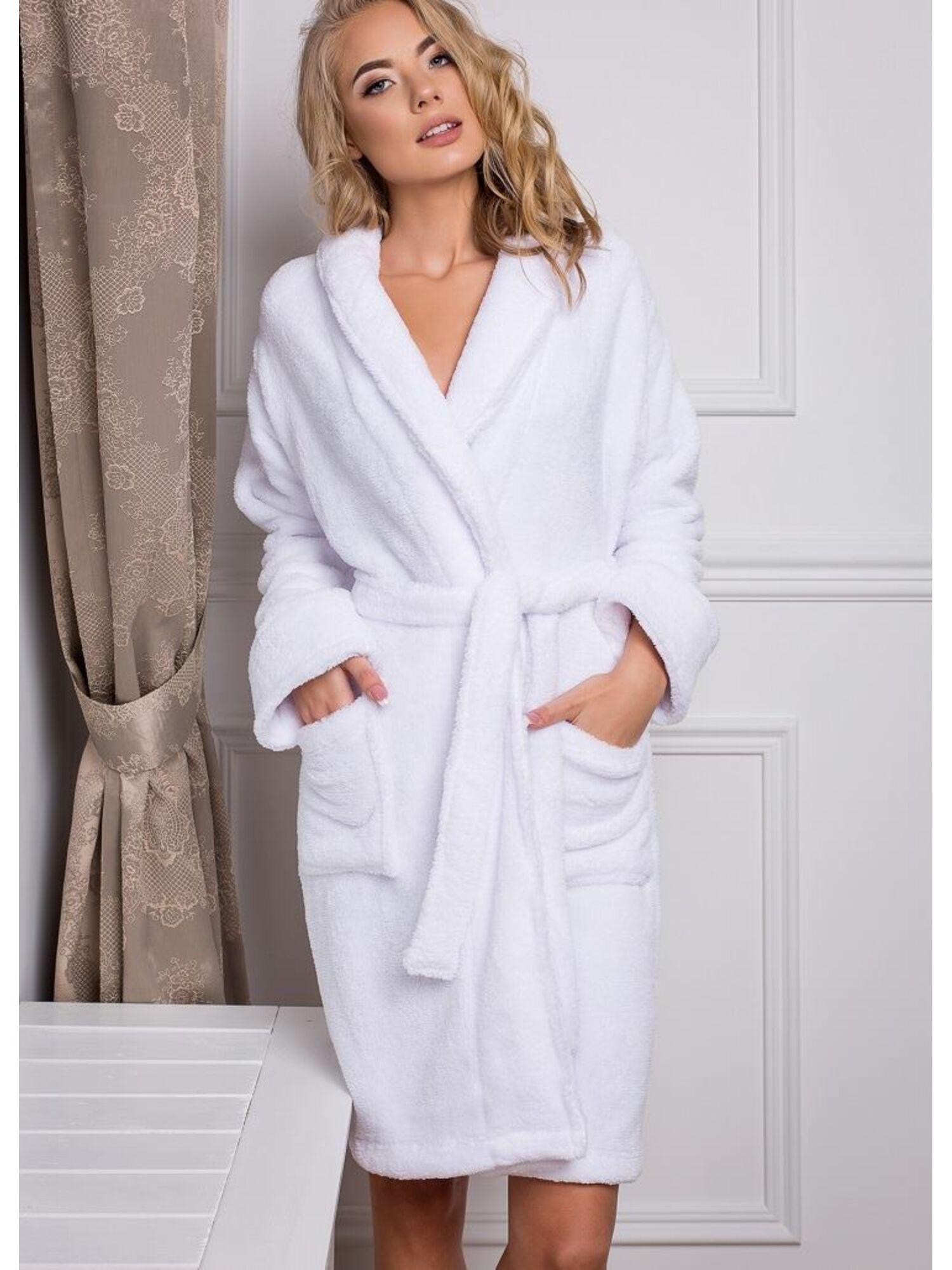 Женский велюровый халат ELIZABETH белый