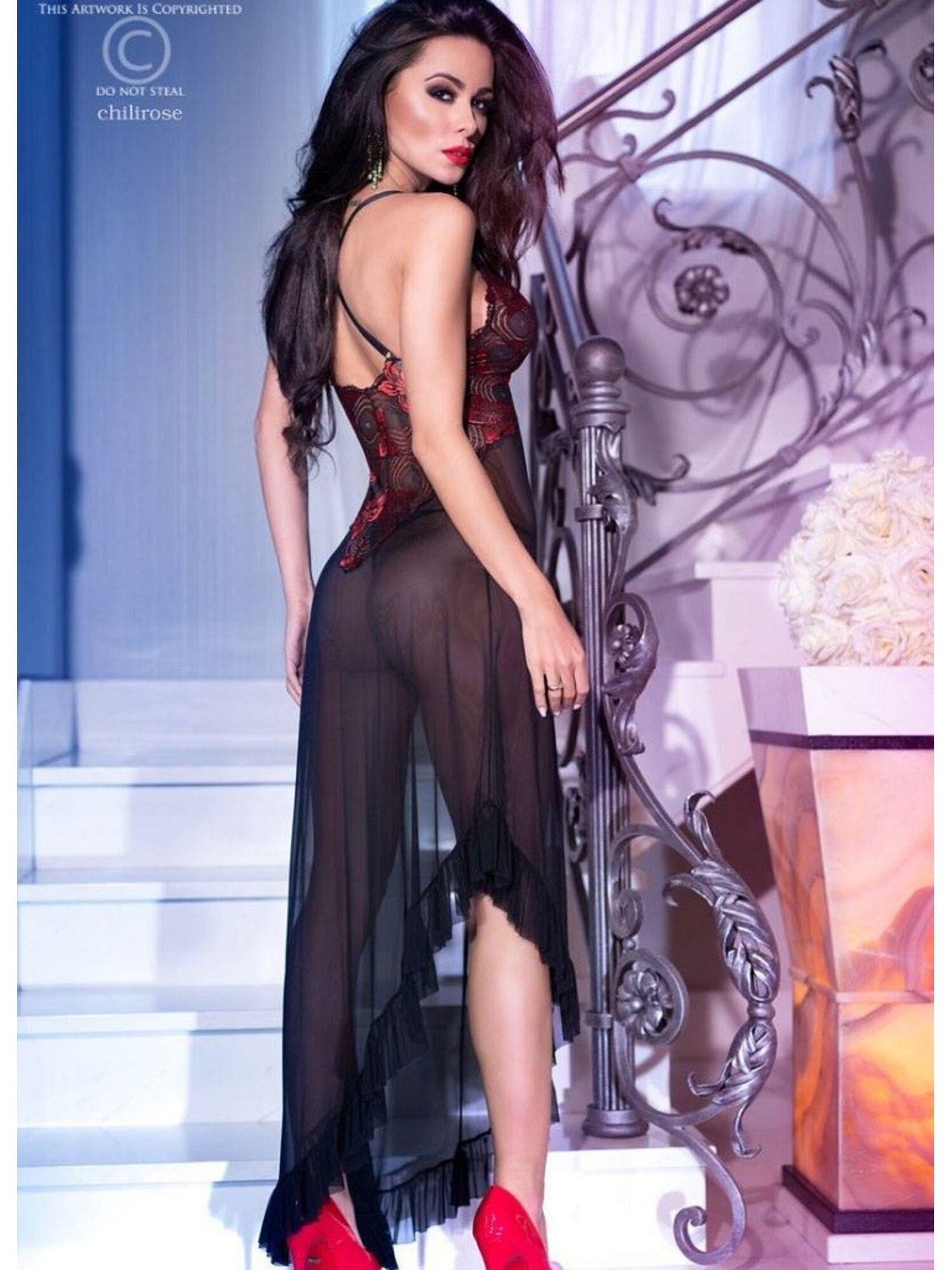 Женское эротическое платье 4251 черный, ChiliRose (Польша)