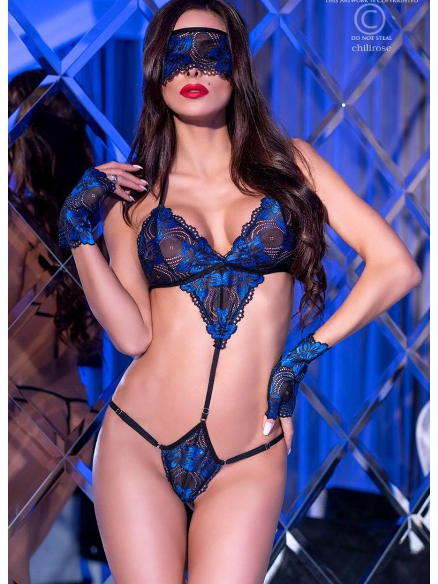 Женский эротический комплект 4266 черный/синий, ChiliRose (Польша)