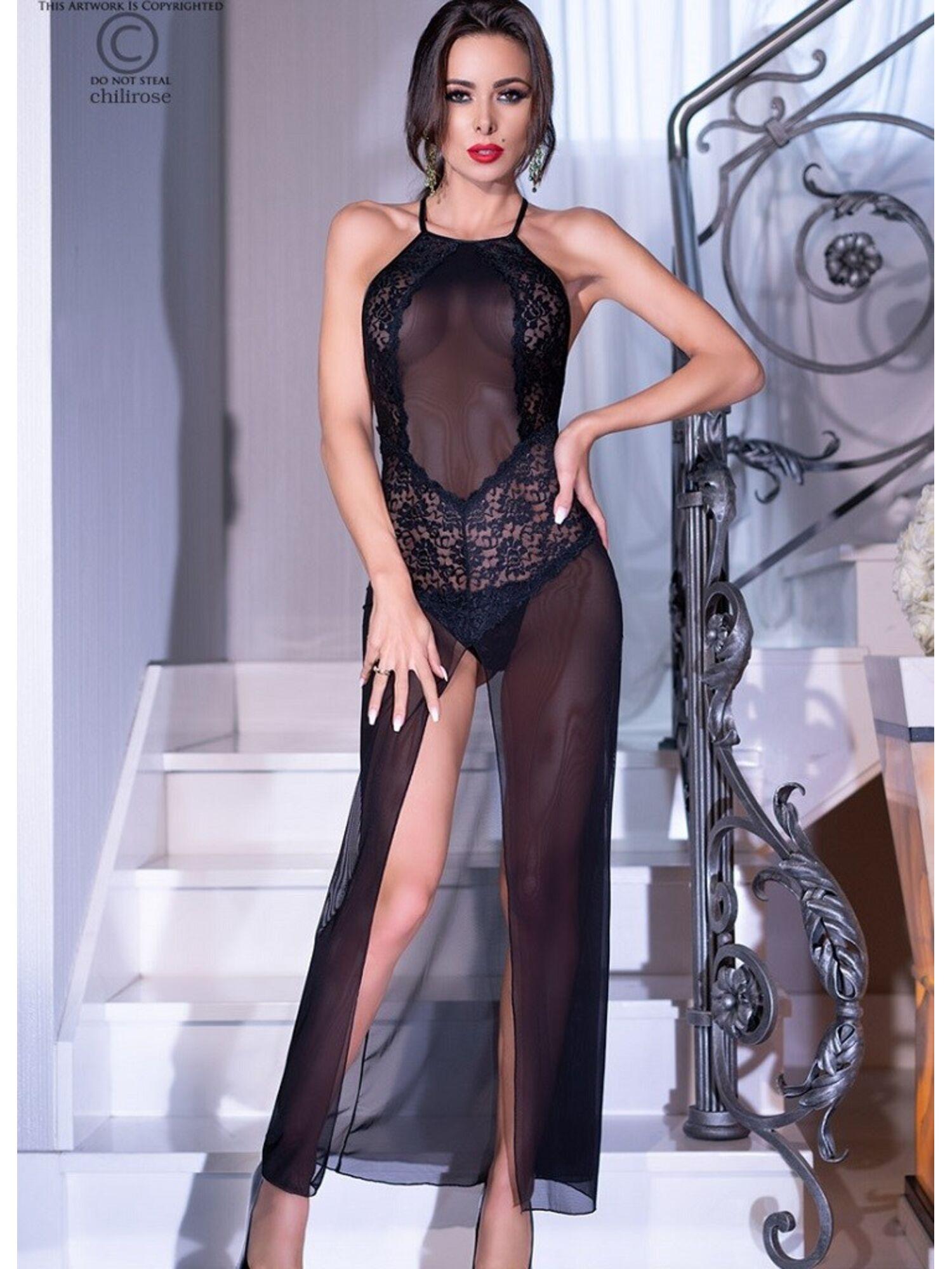 Женское эротическое платье 4269 черный, ChiliRose (Польша)