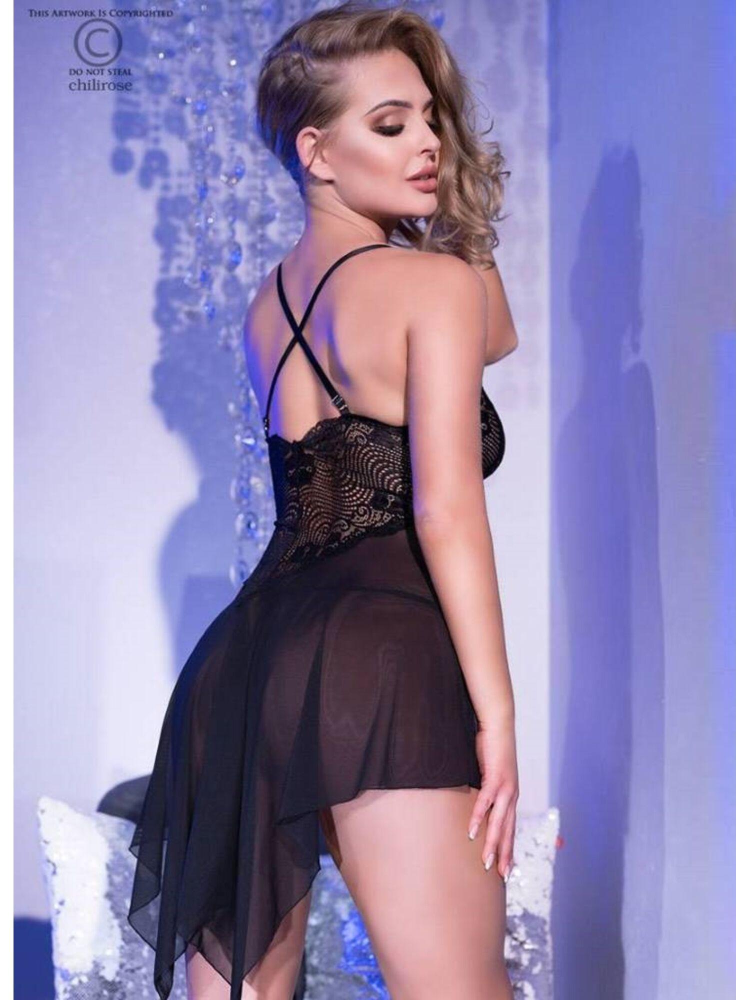 Женское эротическое платье Babydoll 4370, черный, ChiliRose