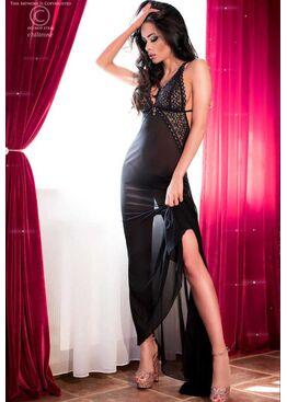 Сорочка 4064 LONG GOWN черный/розовый