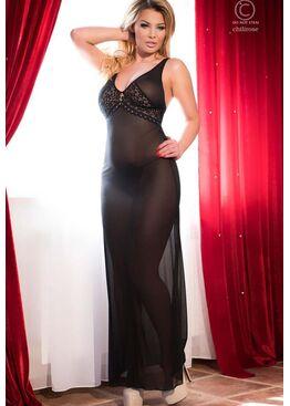 Сорочка 4065 LONG GOWN черный/розовый