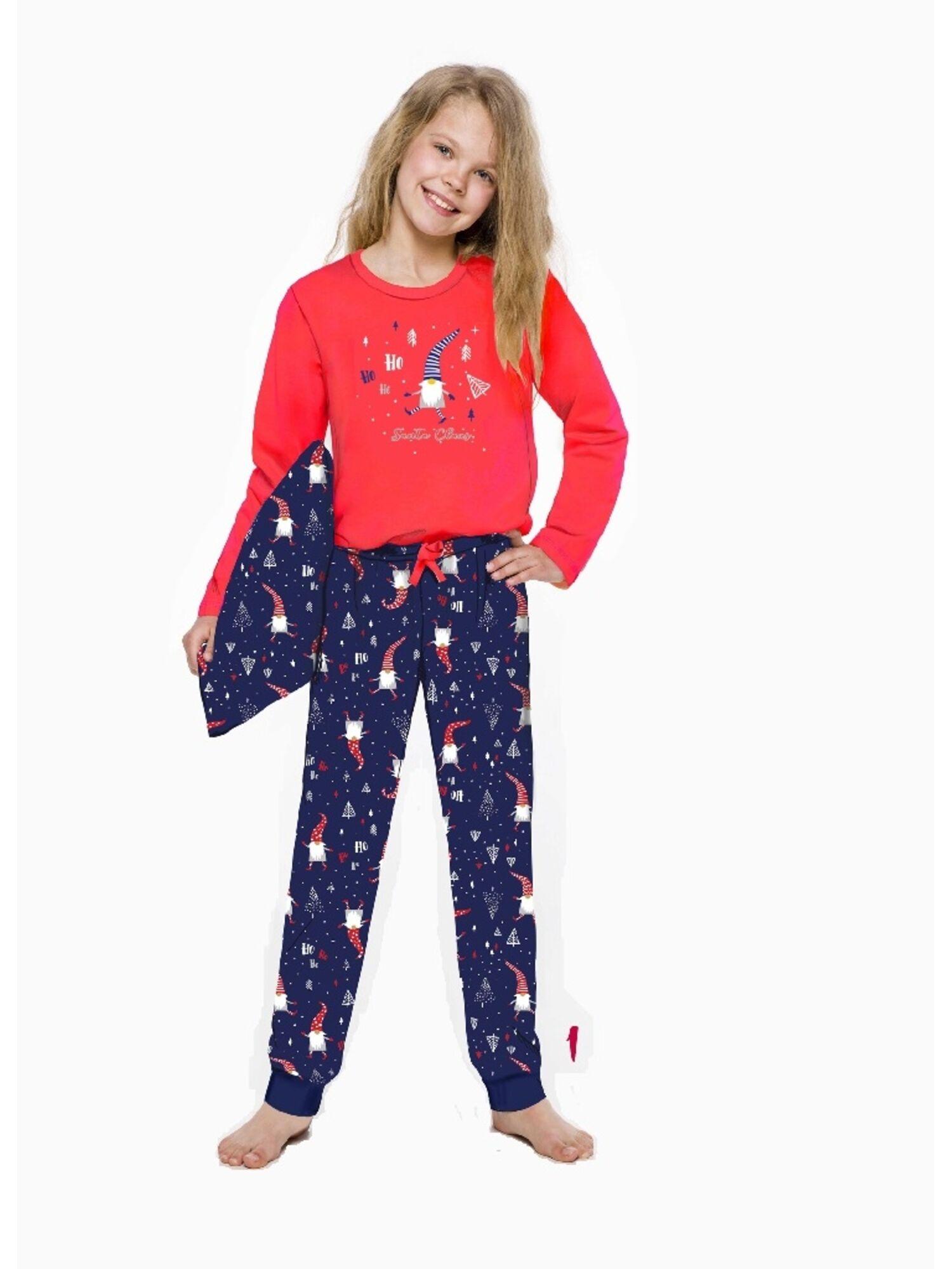Пижама детская из хлопка со штанами 2353/2354 19/20 DLUGA красный/ синий, TARO