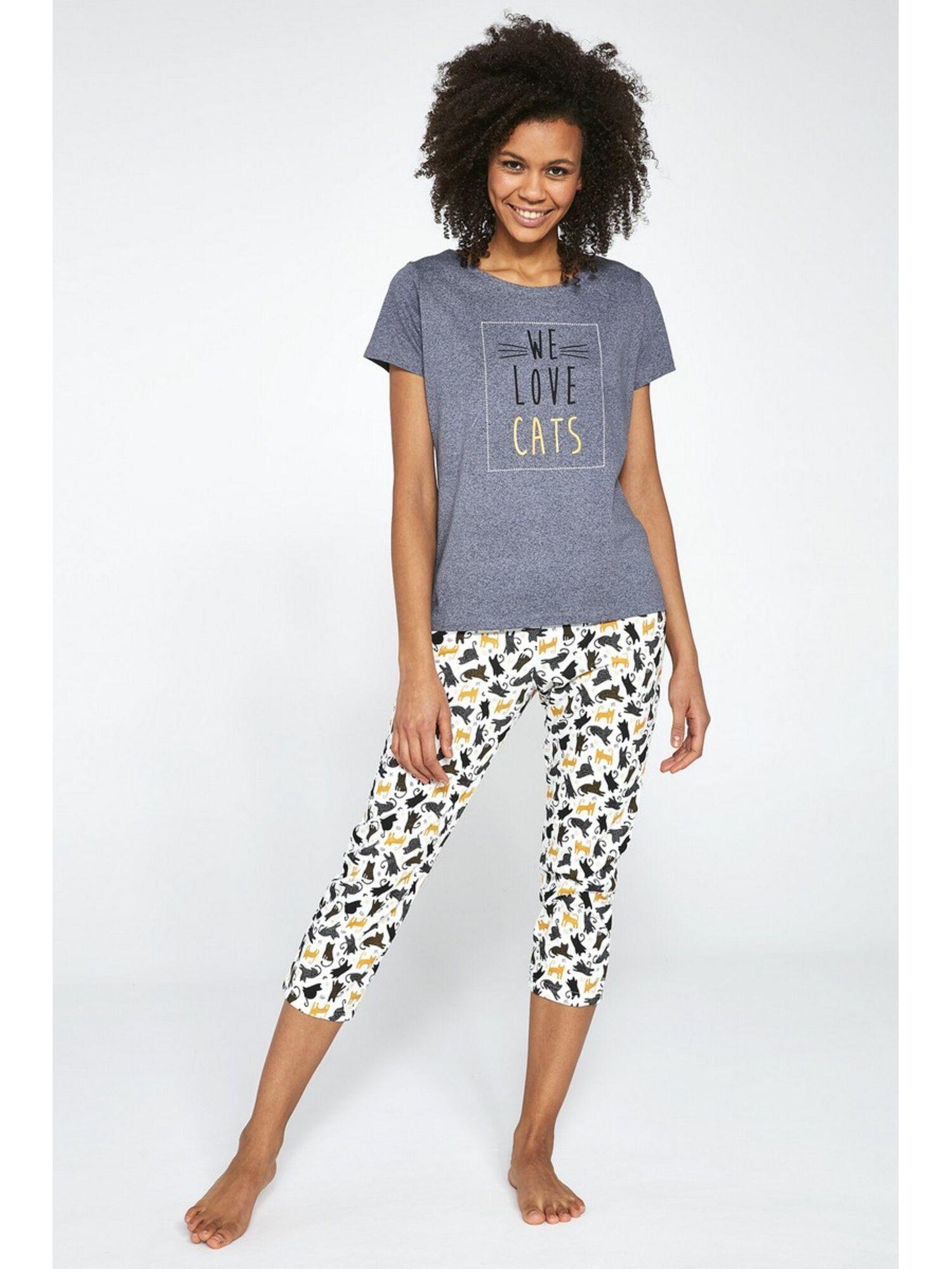 Пижама женская со штанами 497 LOVE CATS, серый, Cornette