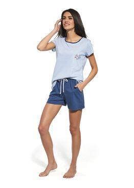 Пижама женская с шортами 053 синий/белый