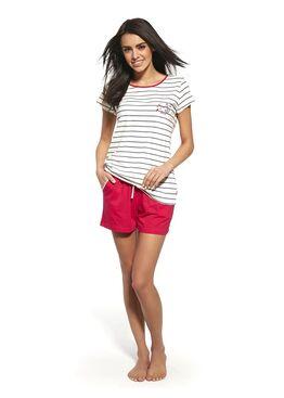 Пижама женская с шортами 053 белый/красный
