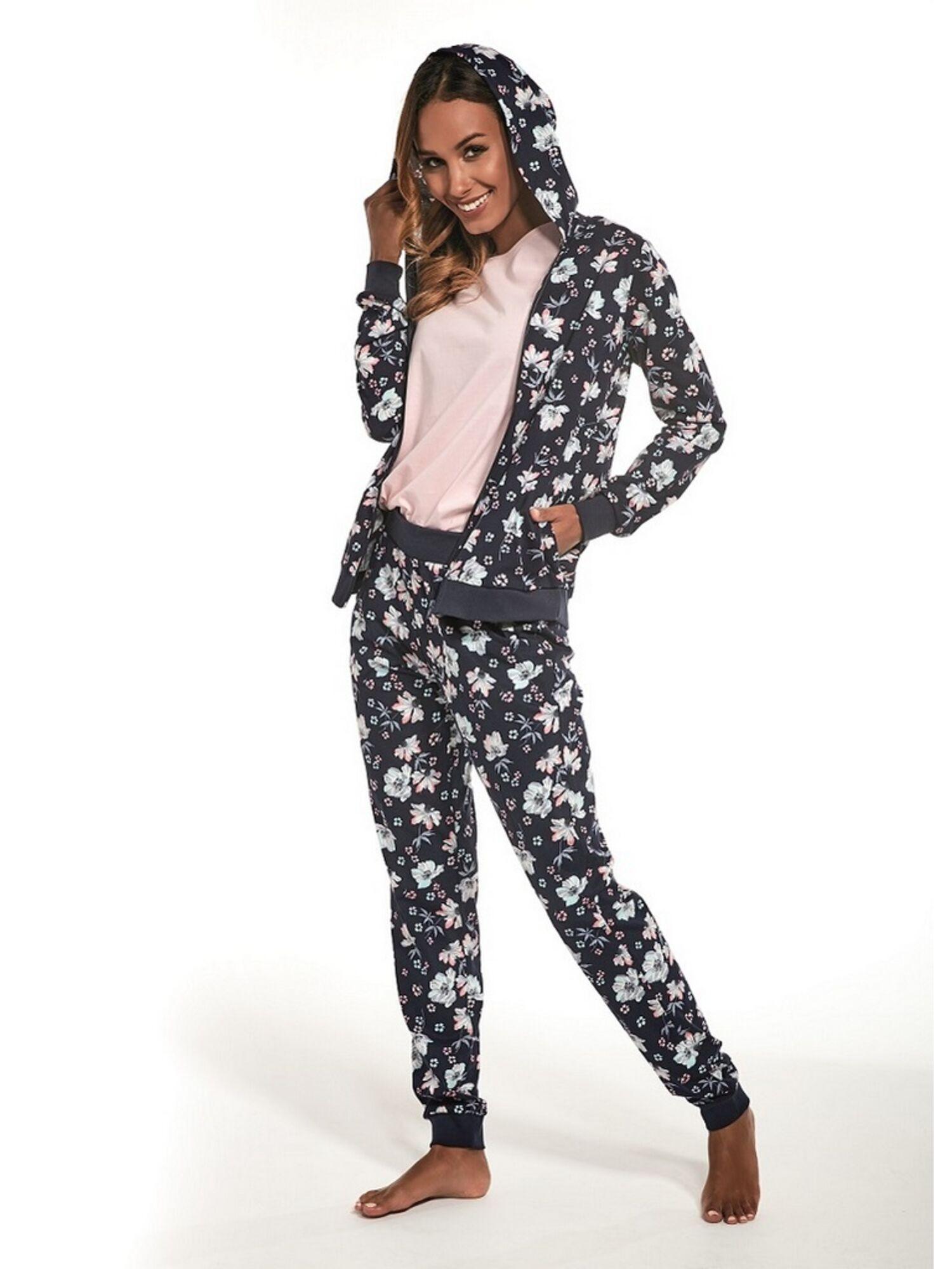 Комплект женский (кофта, штаны, футболка) из хлопка 355/215 JESSIE синий, CORNETTE