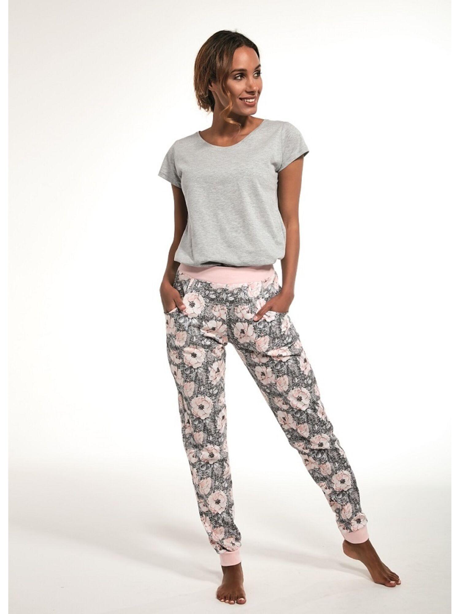 Комплект женский (кофта, штаны, футболка) из хлопка 355/216 MEGAN серый/розовый, CORNETTE