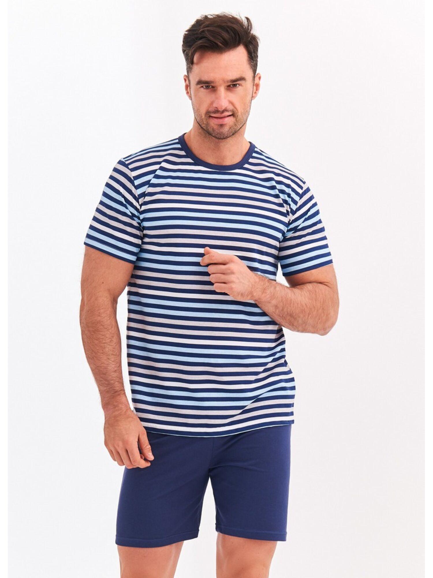 Пижама мужская 072 S20 Max с шортами, синяя с белым, TARO