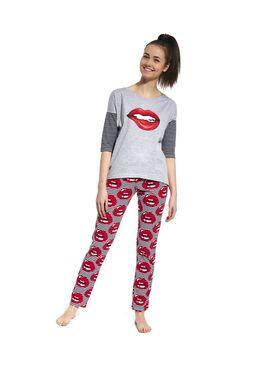 Пижама подростковая 200 серый/красный