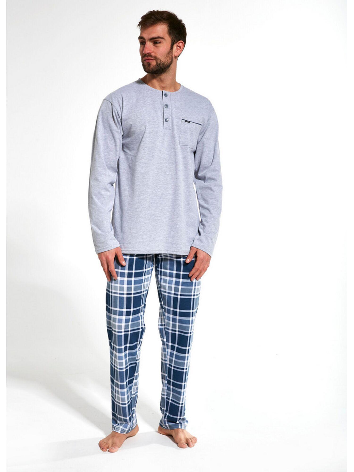 Пижама мужская со штанами хлопковая 125 DAVE, серый, CORNETTE