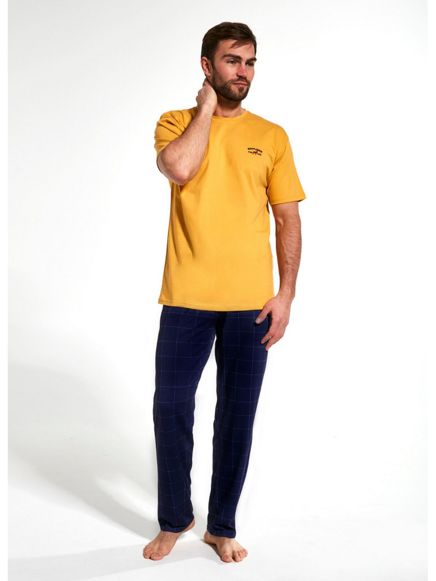 Пижама мужская со штанами хлопковая 134 EXPLORE, желтый, CORNETTE