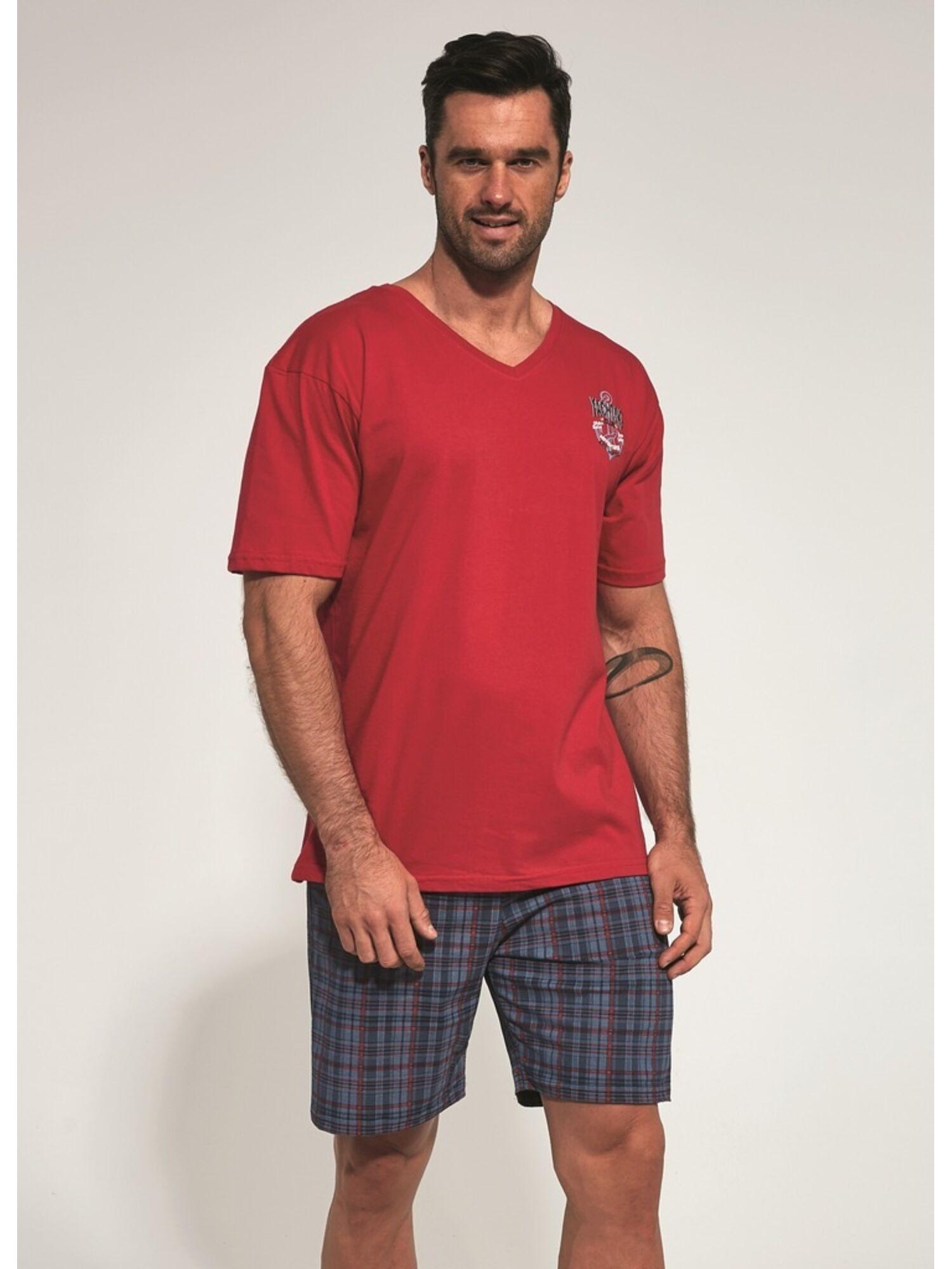 Пижама мужская хлопковая с шортами 326-3, красный с синим, CORNETTE