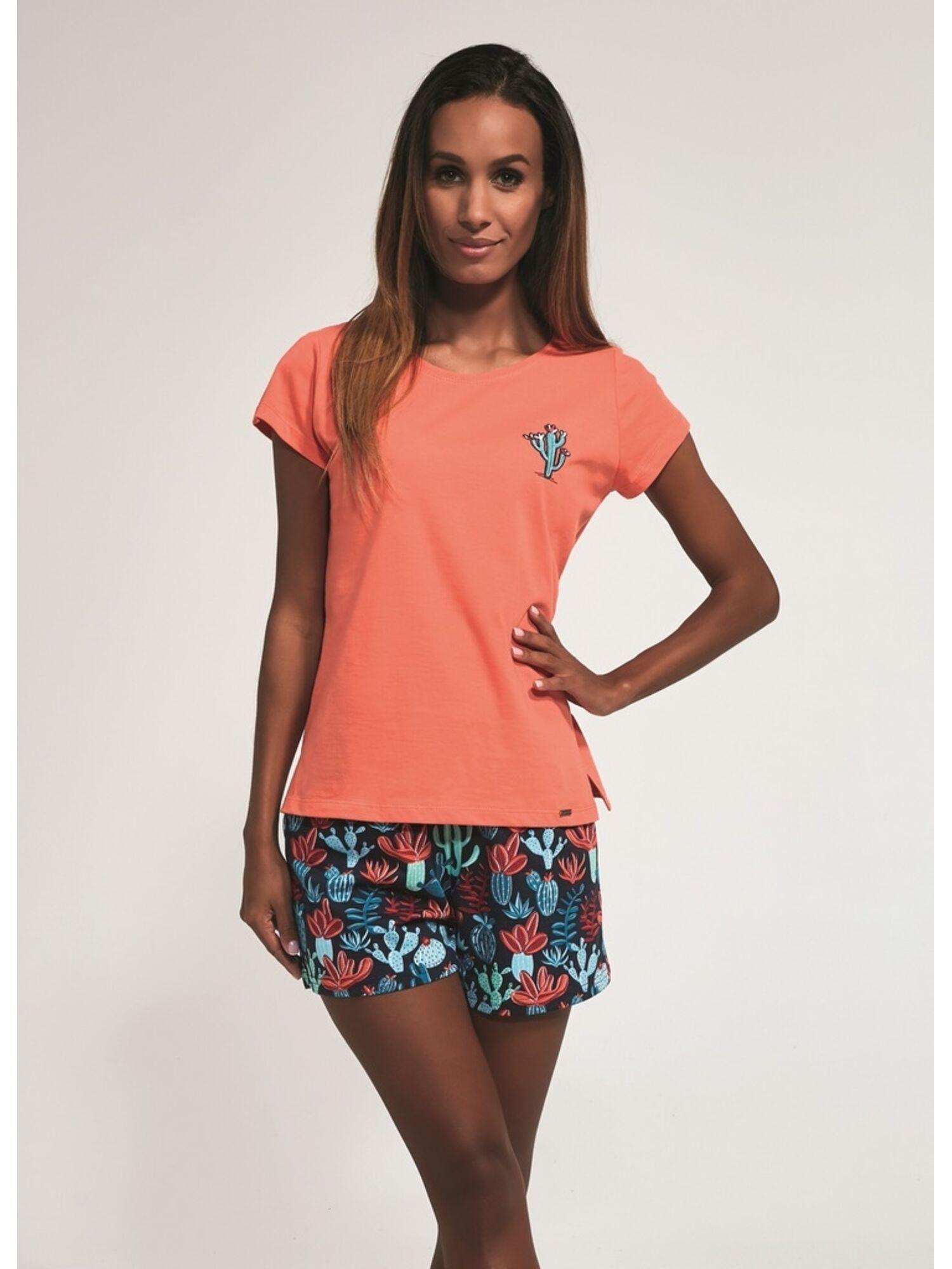 Пижама женская 3 в 1 хлопковая с шортами и брюками, 665-3, коралловый с черным, CORNETTE