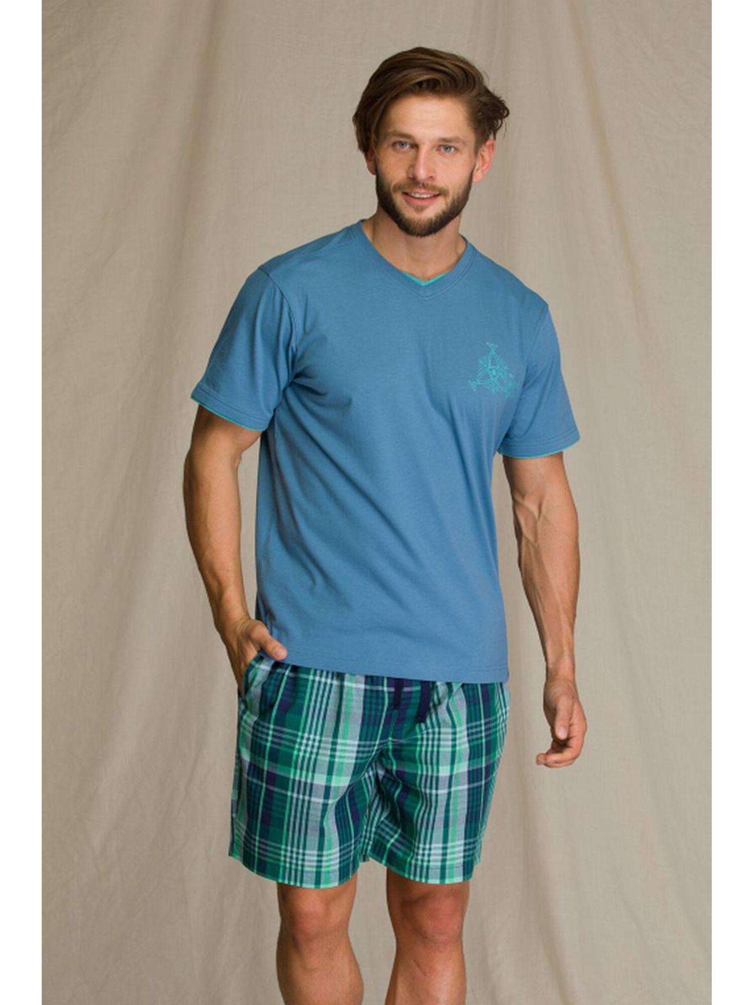 Пижама мужская с шортами KEY 714 A21, синий, KEY