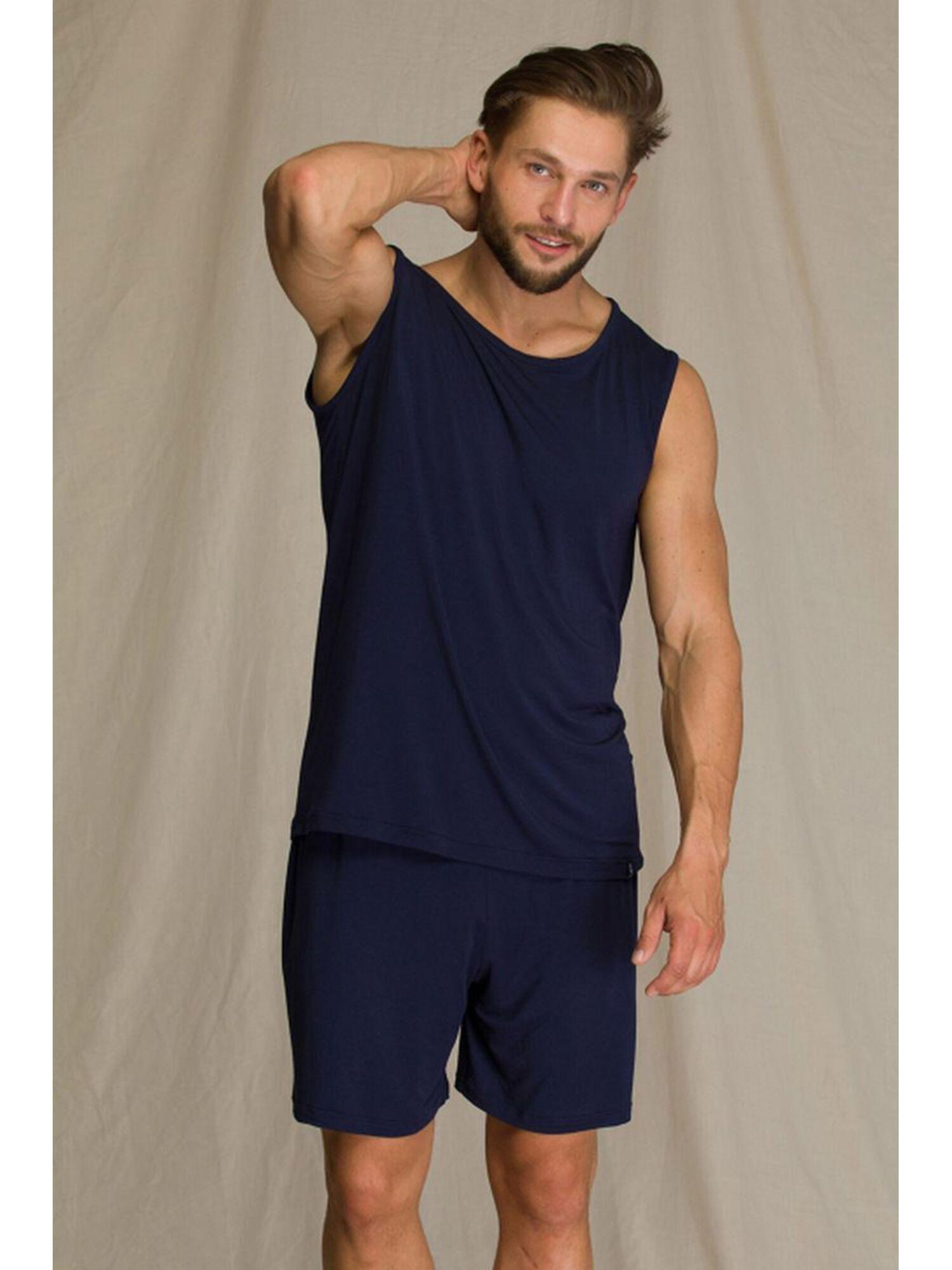Пижама мужская с шортами MNS 001 A21, синий, KEY