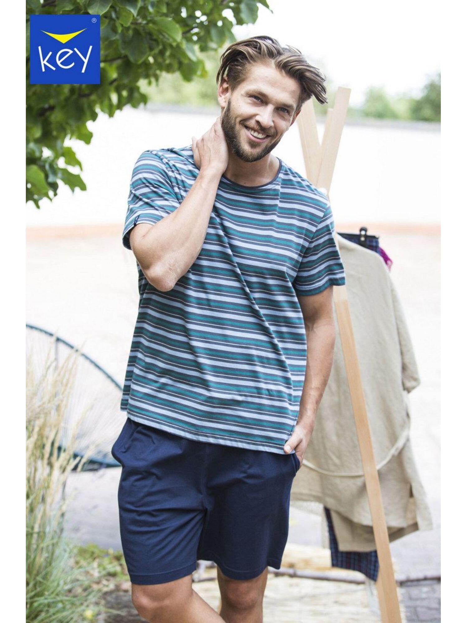 Пижама мужская с шортами MNS 351 2 A21, синий, KEY