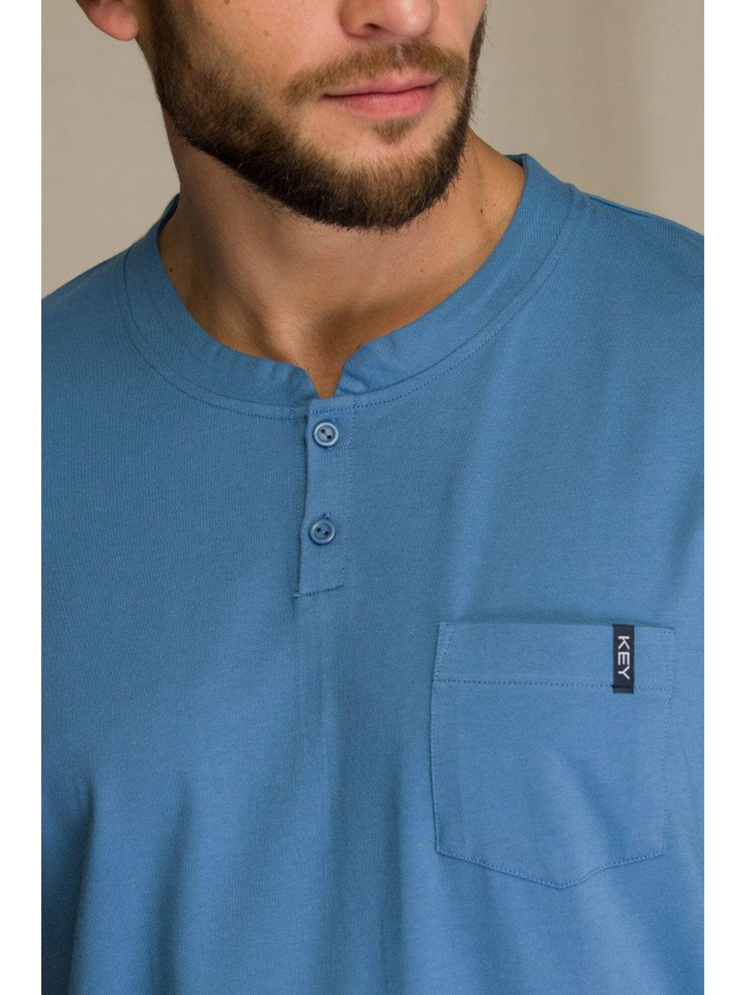 Пижама мужская с шортами MNS 223 A21, синий, KEY