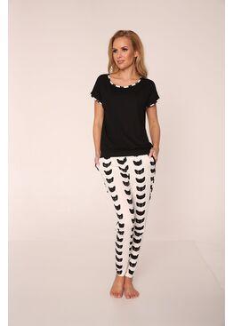 Пижама 321 KOTY 7/8 черный/белый