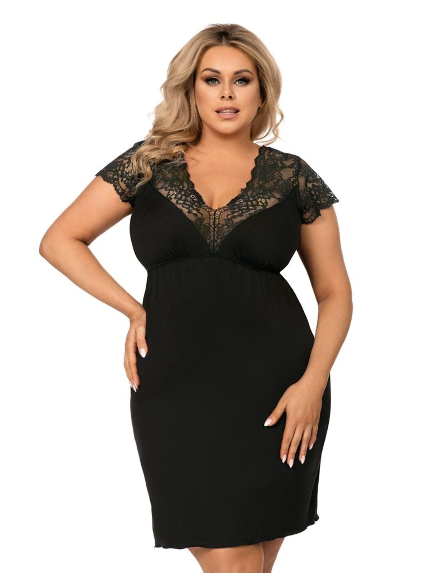 Сорочка женская TESS из вискозы с кружевом, черная, DONNA