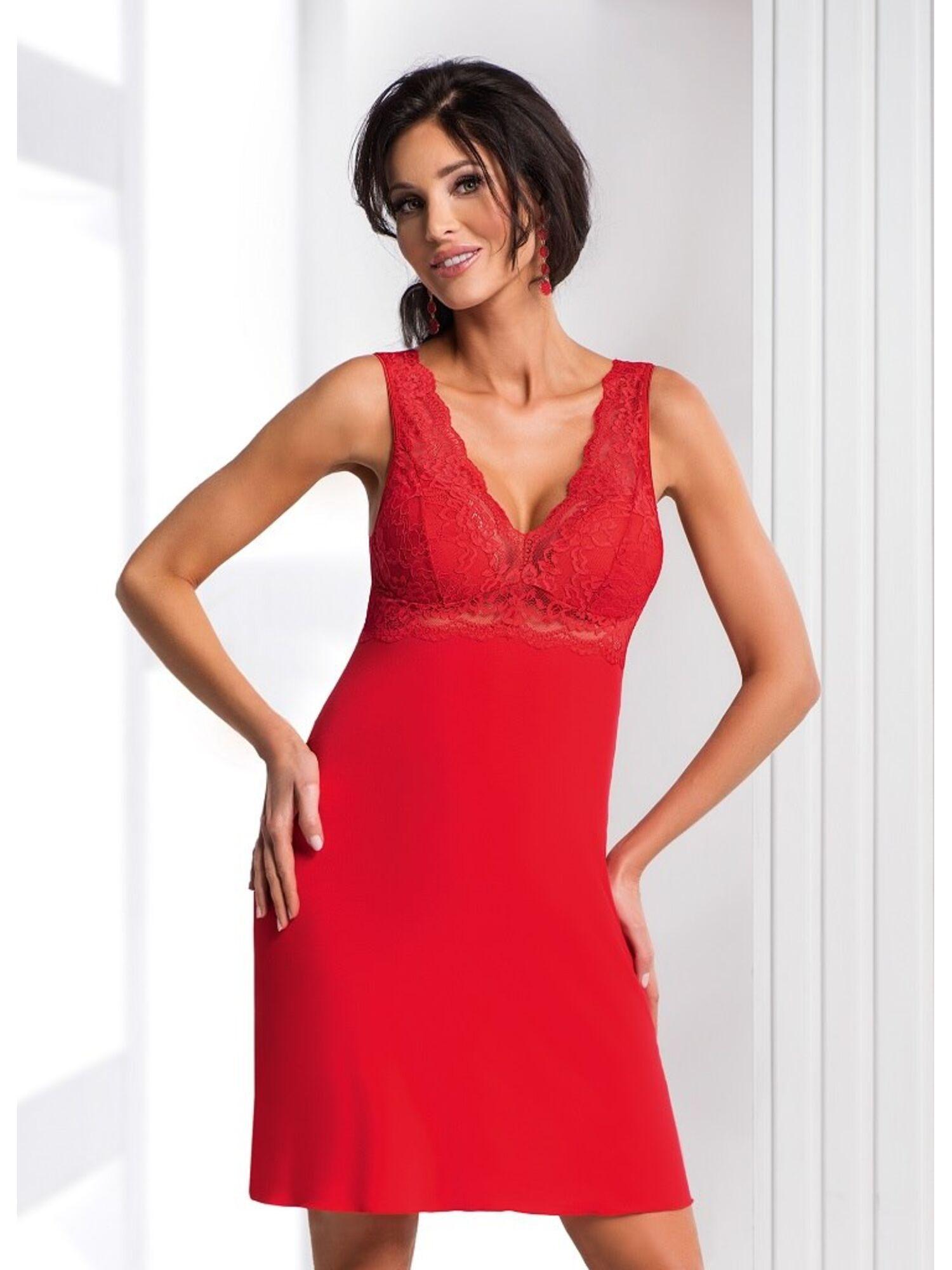 Сорочка женская из вискозы CHANTAL 19 красный, DONNA II