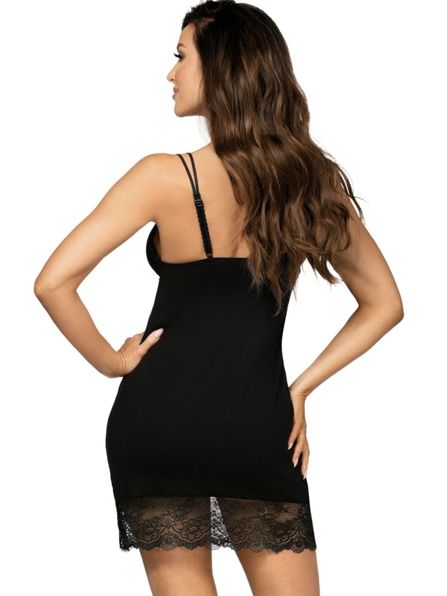 Сорочка женская PAMELA из вискозы с кружевом, черный, DONNA