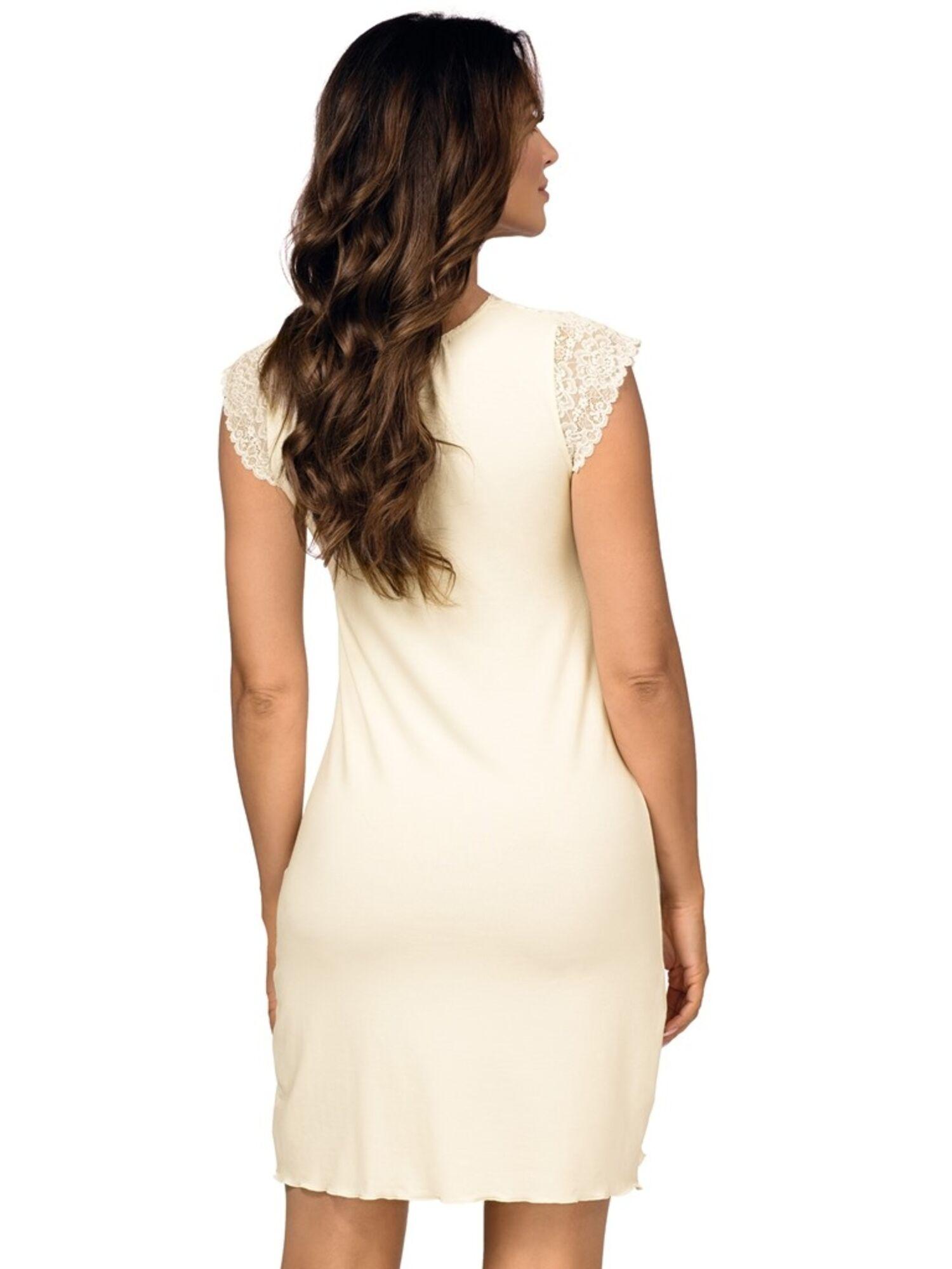 Сорочка женская, вискоза с кружевом GLORIA, кремовая, DONNA