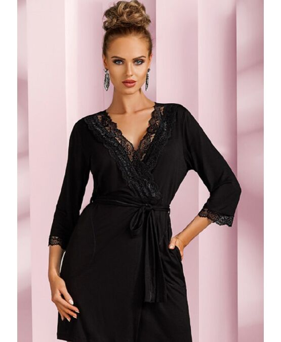 3813097858a9289 Купить Халат женский NADIA черный, Donna 2 (Польша) в интернет ...