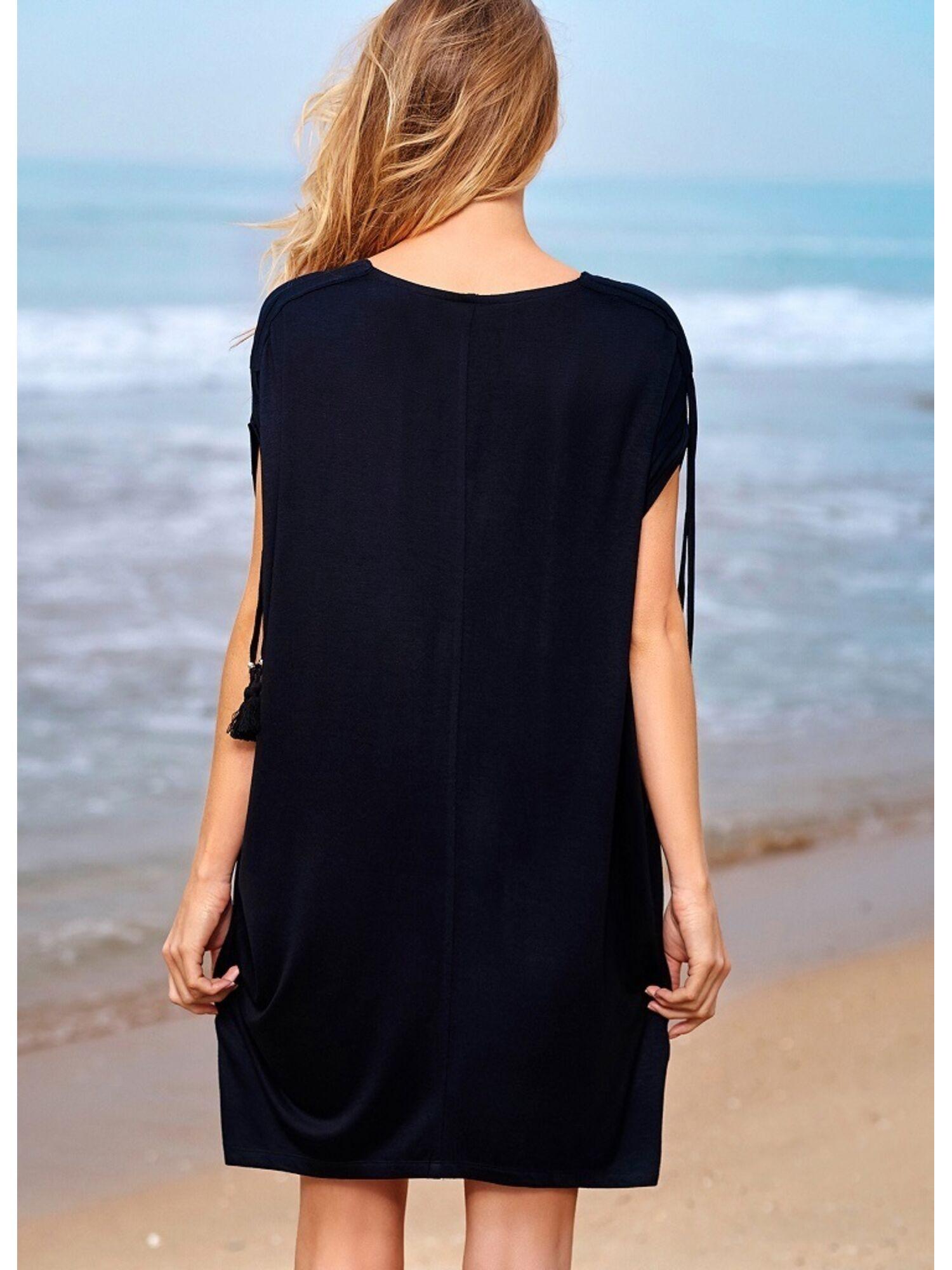 Женское пляжное платье-туника из вискозы 37094 CAVALO черный, Esotiq (Польша)