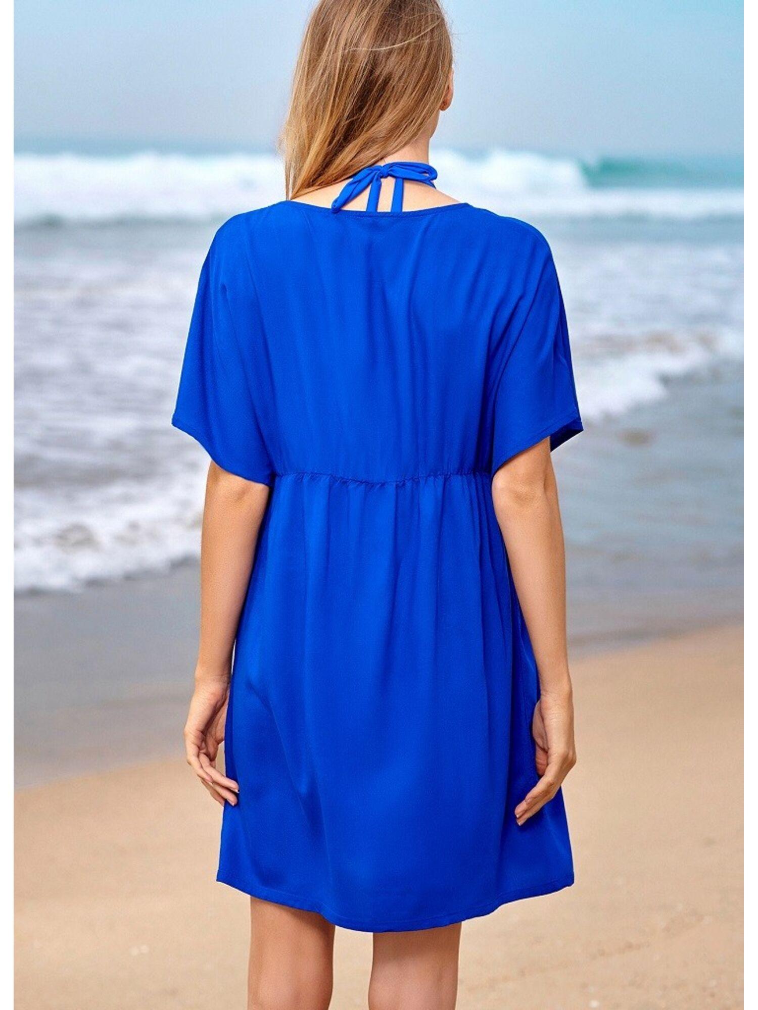 Женское пляжное платье-туника из вискозы 37095 LEROS синий, Esotiq (Польша)