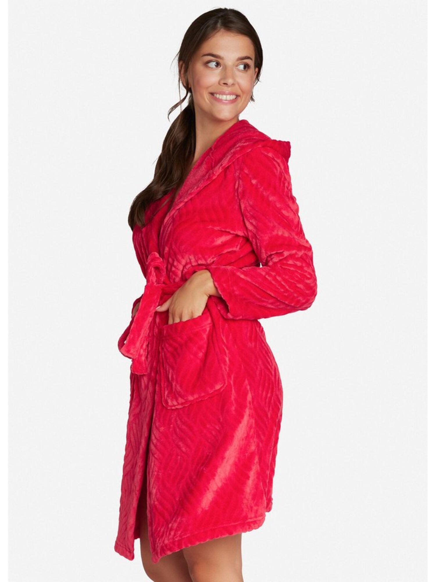 Халат женский из полиэстера с капюшоном 38223 DANDRE красный, ESOTIQ