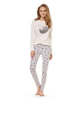 Пижама женская 36496 CRISPY экрю/серый