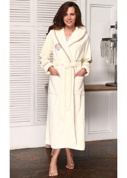 Женский бамбуковый халат с капюшоном Juliette (крем)