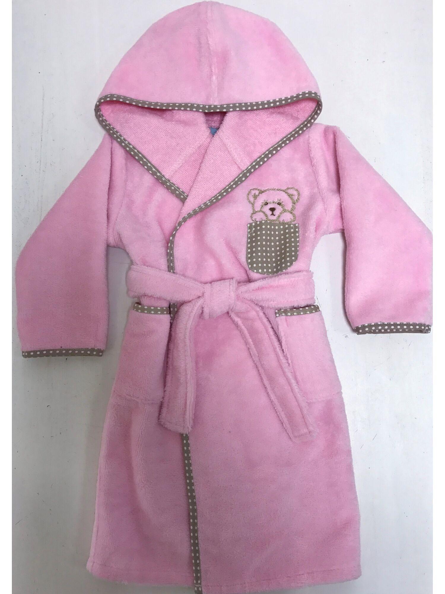Детский банный махровый халат Teddy (розовый)