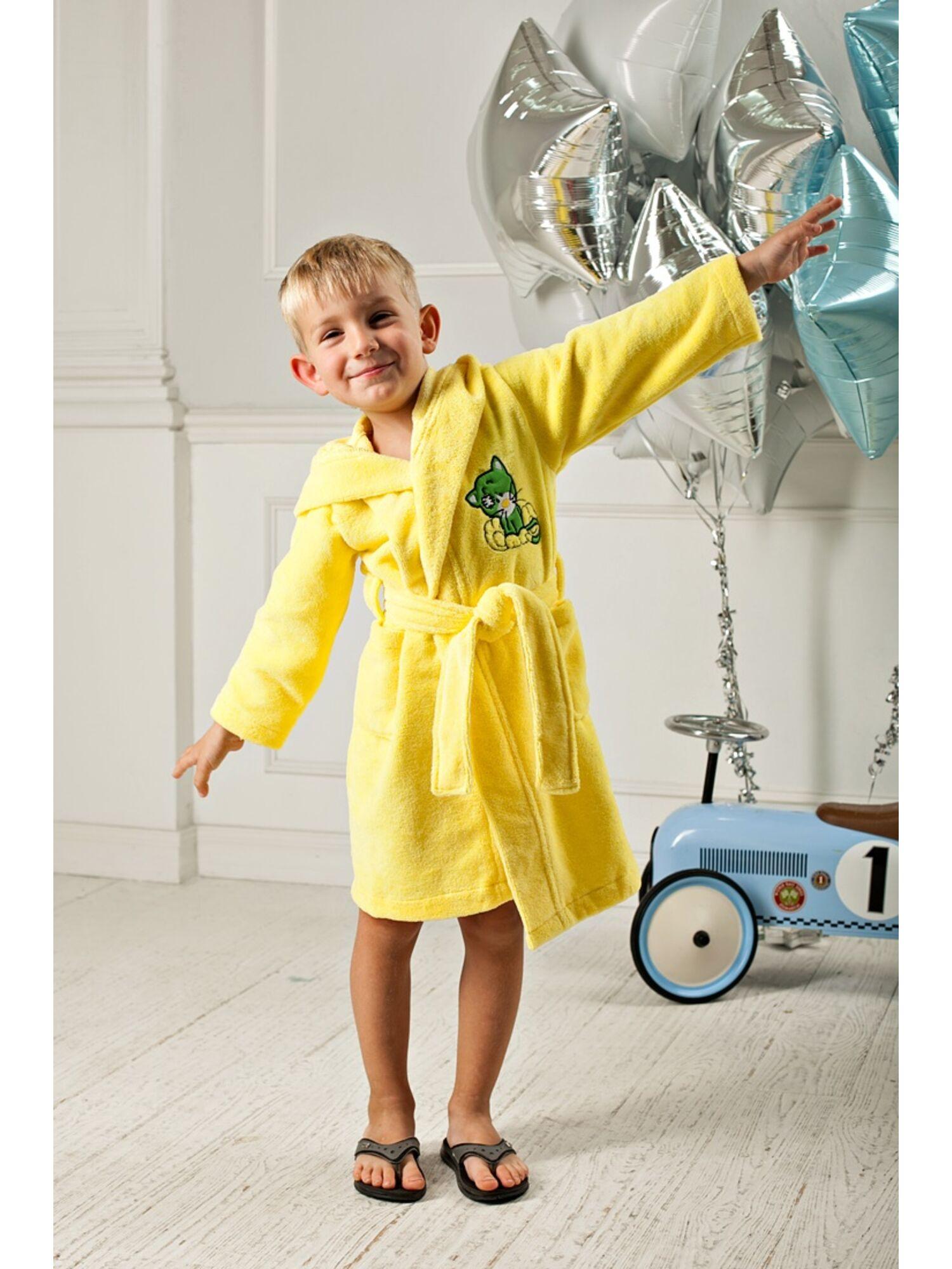 Детский махровый халат из бамбука Малыш (лимон)