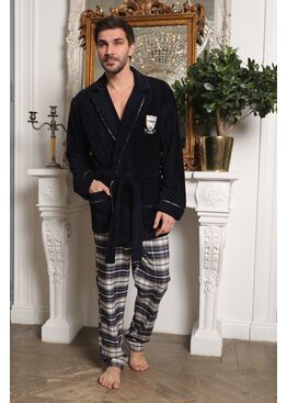 Мужской комплект халат-пиджак с брюками Arsenal (синий вар.1)