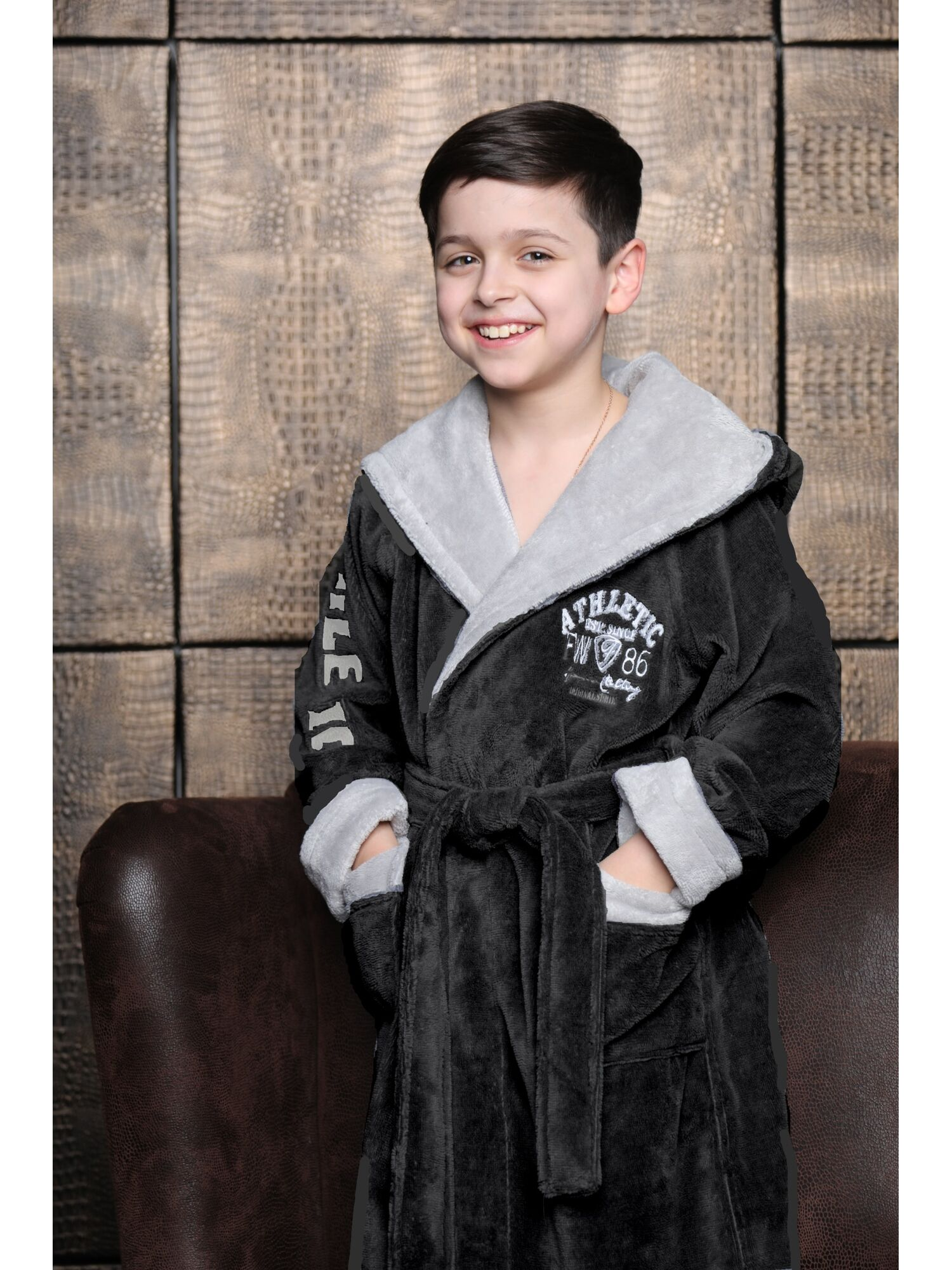 Подростковый халат Athletic Junior (антрацит)