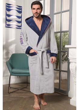 Мужской халат с капюшоном College (серый)