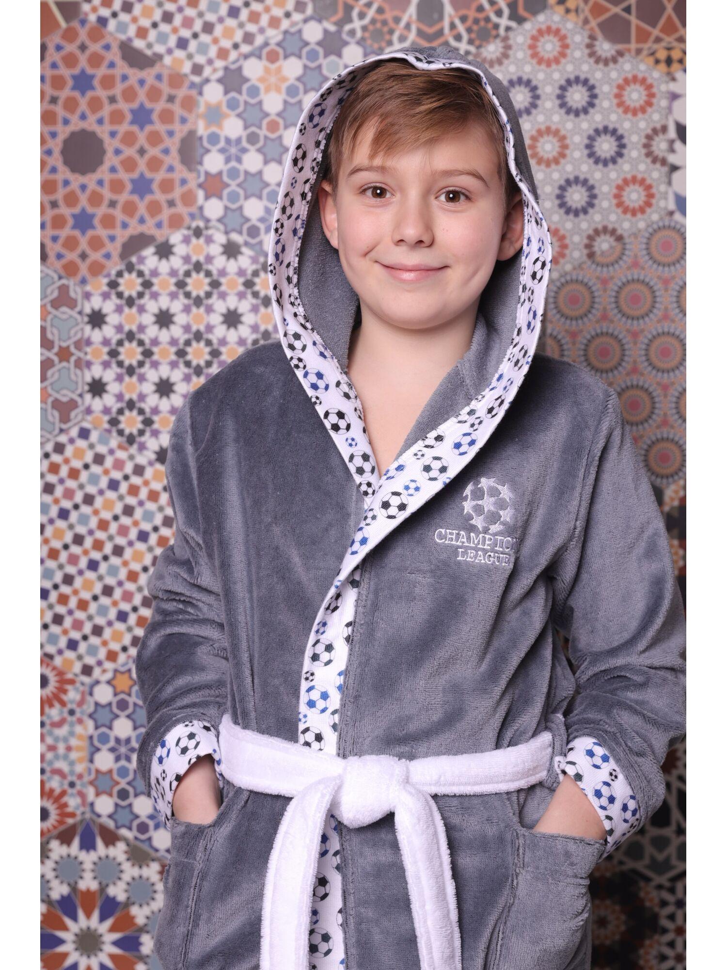 Детский халат подростковый  Football (Silver)