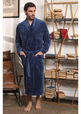 Велюровый мужской халат Harvard (джинс)