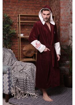 Мужской халат с капюшоном London City (Bordo)