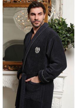 Классический мужской халат из микрокоттона Luxor с вышивкой (антрацит)