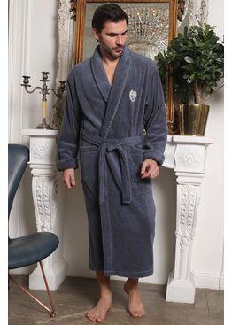 Классический мужской халат из микрокоттона Luxor с вышивкой (джинса)