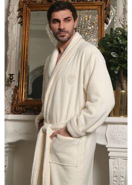 Классический мужской халат из микрокоттона Luxor с вышивкой (крем)