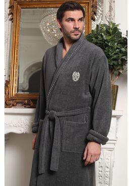 Классический мужской халат из микрокоттона Luxor с вышивкой (мокко)